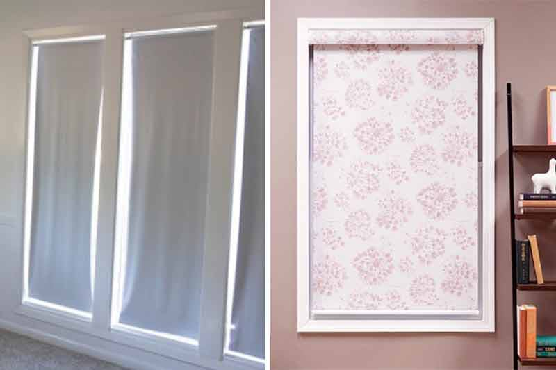 Comparison image showing old, warped roller shades and crisp, new Blackout Fabric roller shades in Cottonwood Spring.