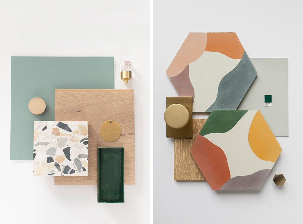 flat lay mood boards of tile and terrazo for home design