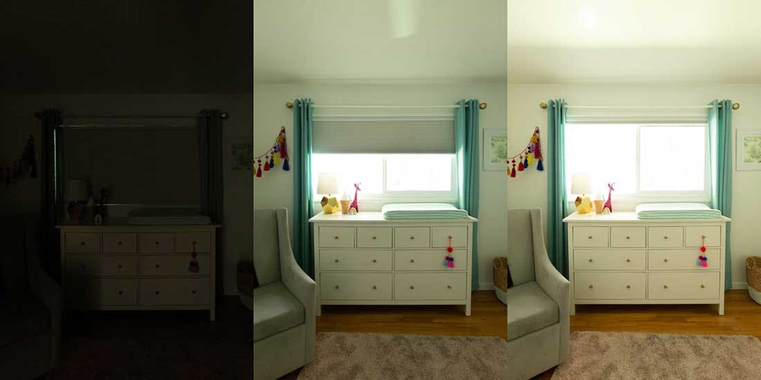 side by side shots showing how much darker a kids bedroom is when the cellular shade is lowered versus raised.