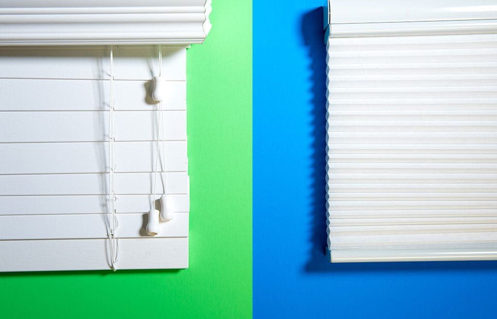 side by side comparison of blinds versus shades