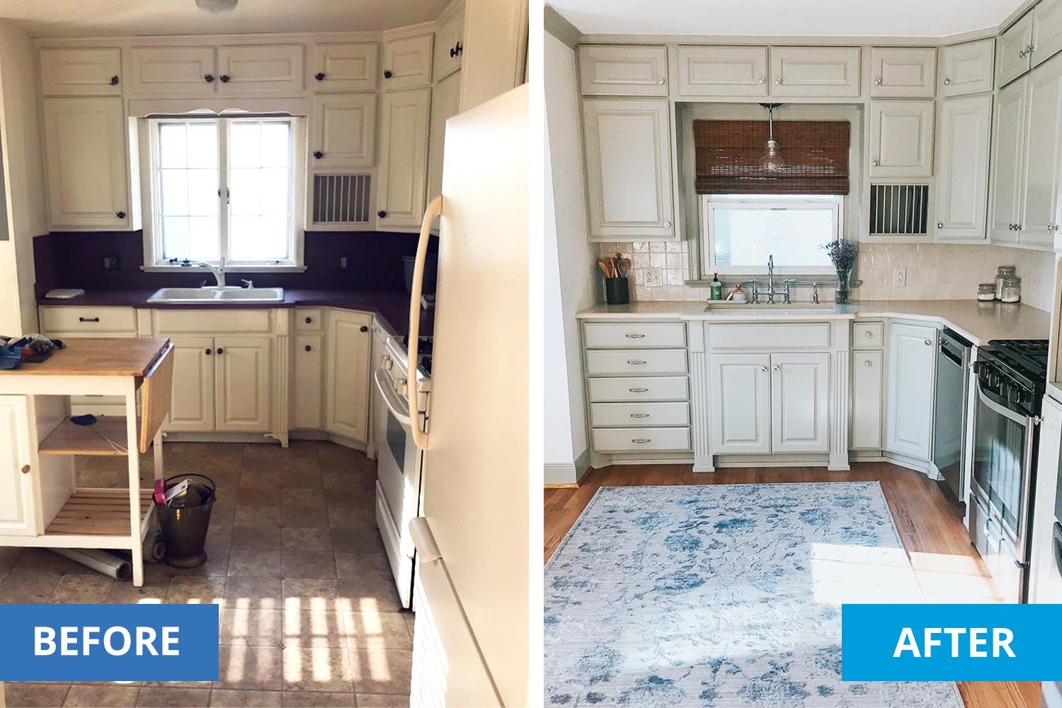 left shows a kitchen pre-makeover. Right shows the kitchen with new floors, new counters and new window treatments.