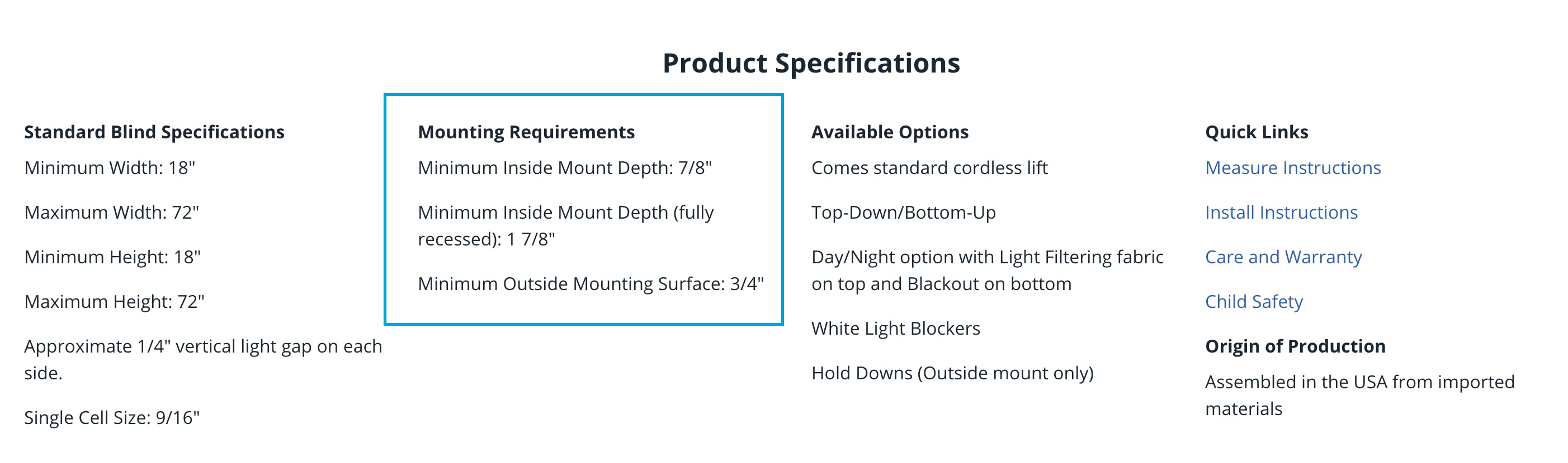 a close up of product specification for a blinds.com window treatment. Mounting requirements are outlined.