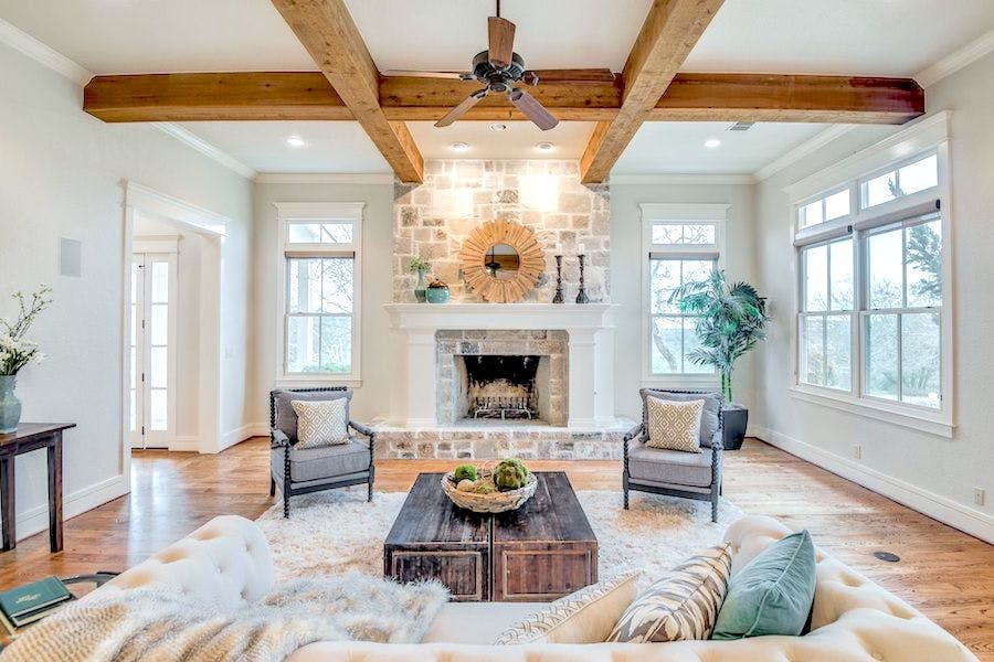 rustic traditional living room staged for open house