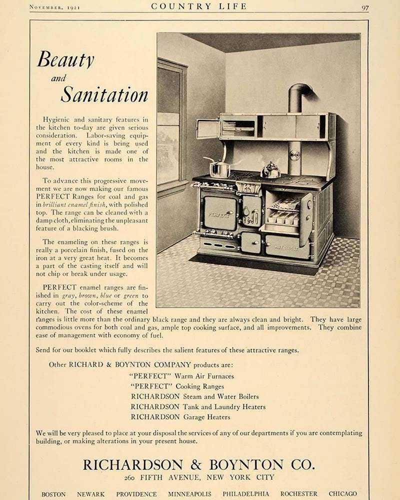 antique ad flyer for a kitchen oven and stove unit from the 1920s.