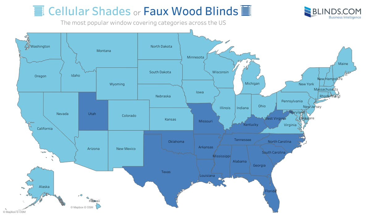 Map showing which states chose cellular shades vs faux wood blinds as the most popular product.