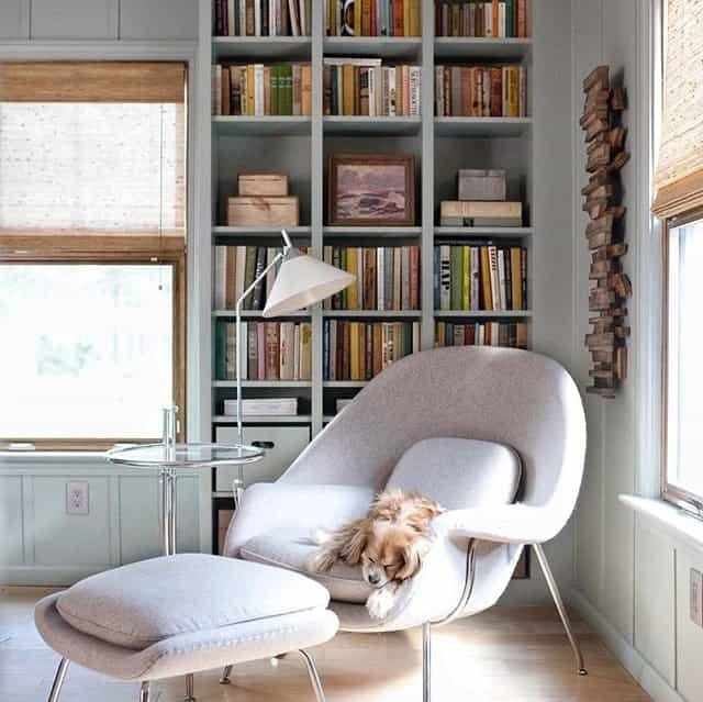 Home office library with tone on pastel sage green walls and bookshelves. A dog sleeps in the grey 70s styled chair.