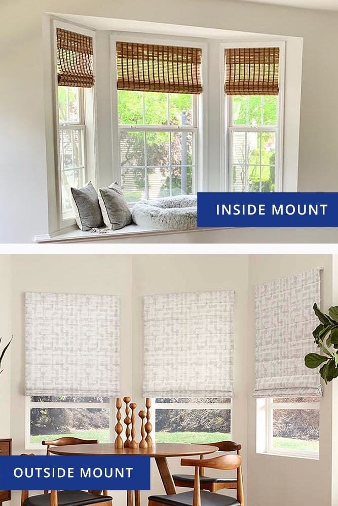 photo comparison of an inside mount and outside mount bay window blind configuration.