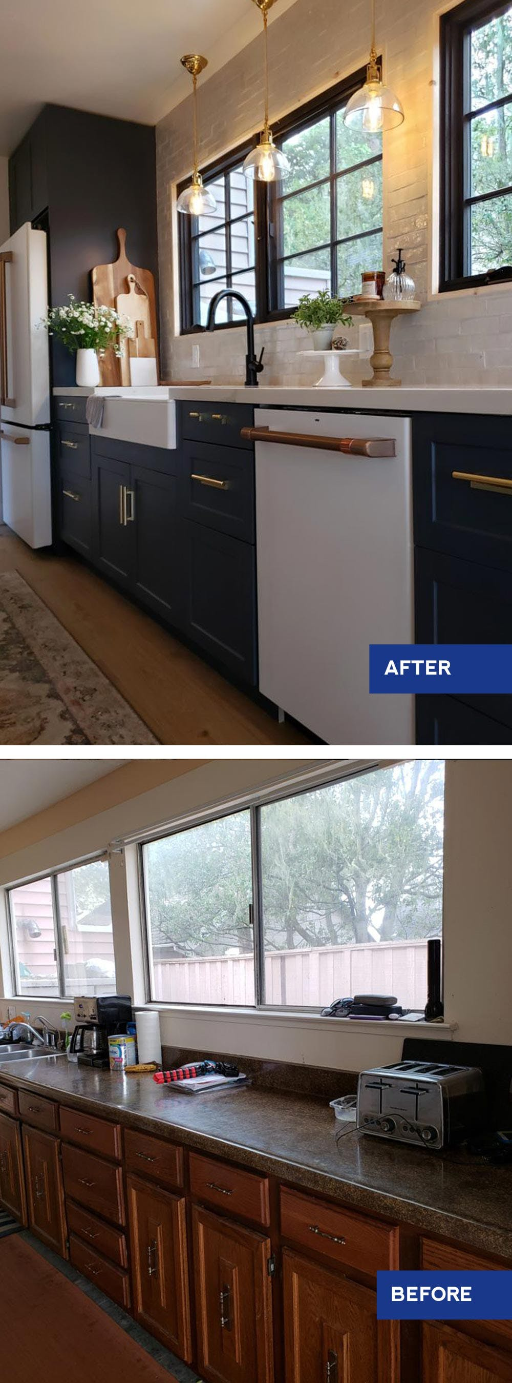 before and after kitchen renovation with navy blue cabinets and gold hardware