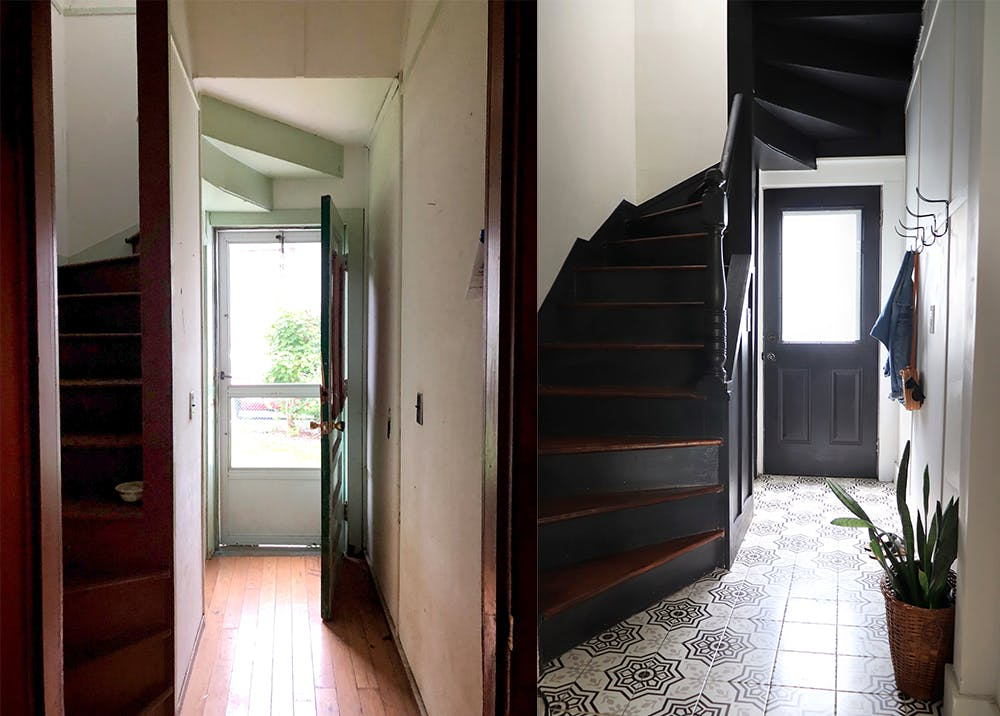 before and after photo of hallway and stairs makeover with patterned tile