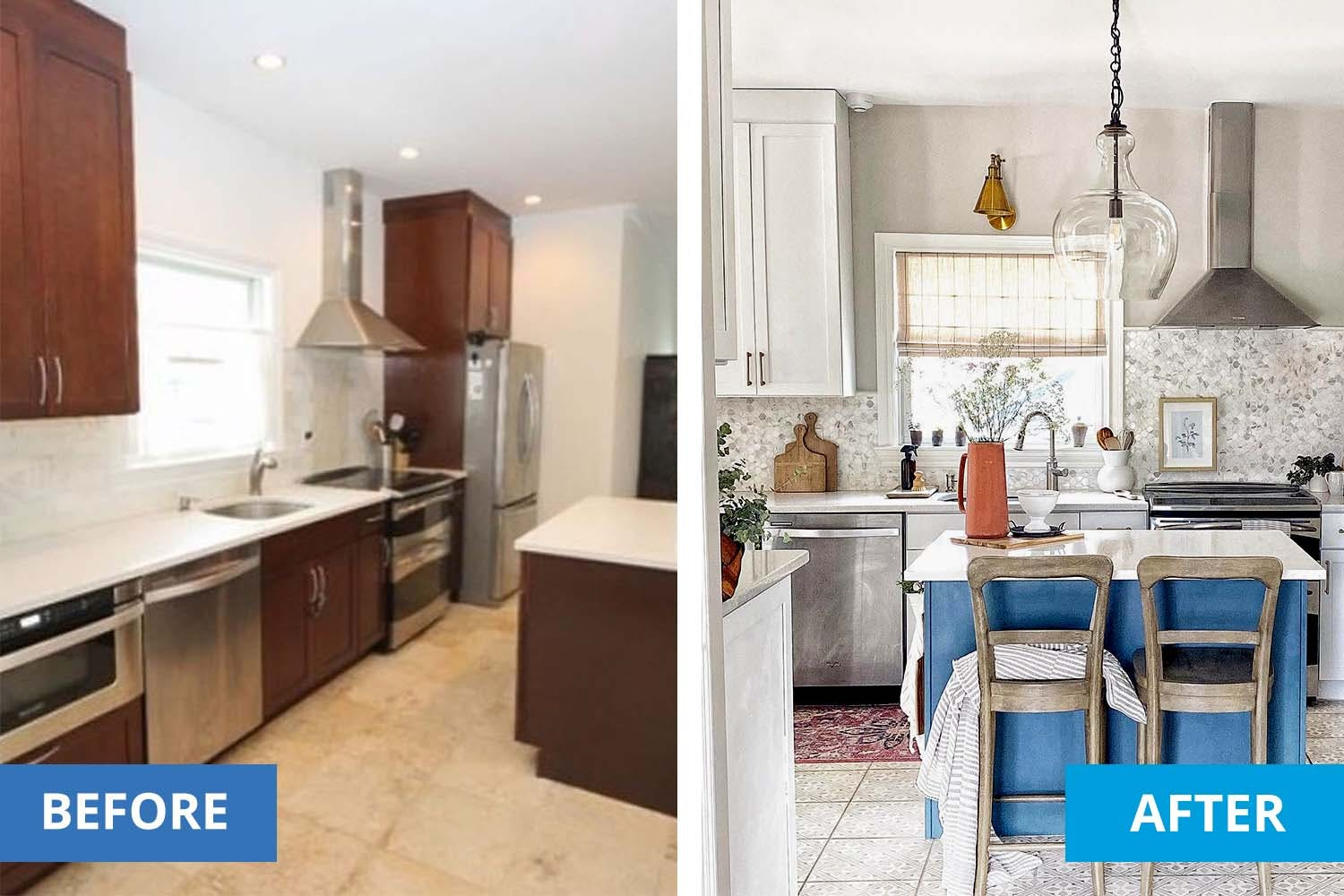 left is a before photo of a basic kitchen with brown cabinets. Right shows after the kitchen makeover with white cabinets, new backsplash and window treatments.