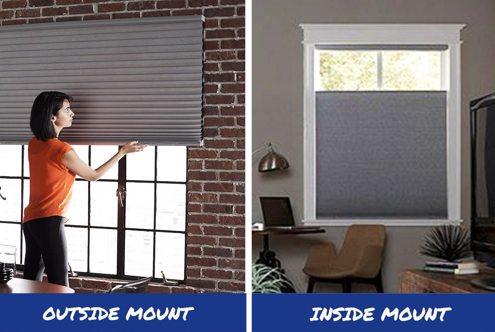 an outside mount cellular shade on the left and an inside mount cellular shade on the right.