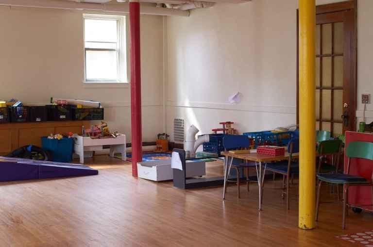 basement preschool gym before makeover