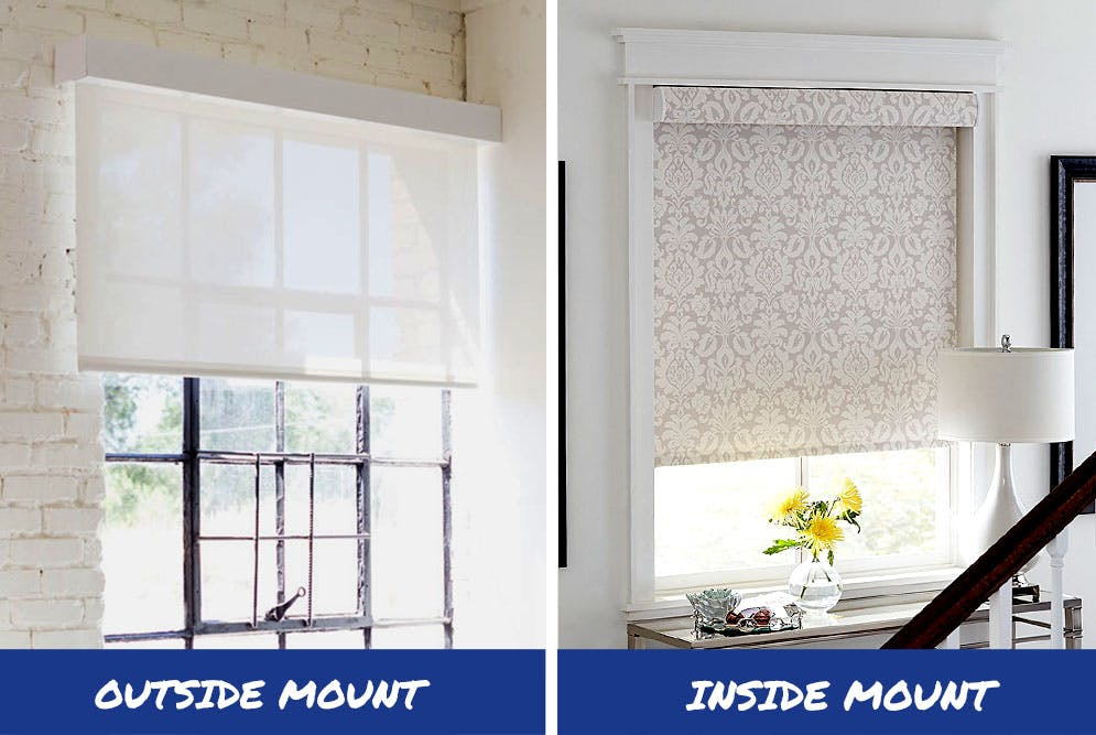 an outside mount solar shade on the left and an inside mount blackout roller shade on the right.