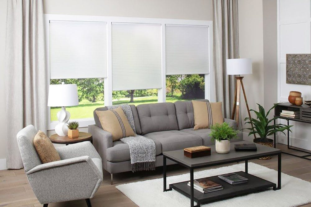 a contemporary living room with white light filtering cellular shades over the wall of windows.
