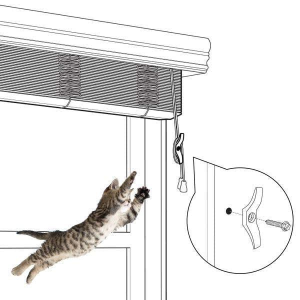 illustration of blinds wrapped around cleat and kitten jumping