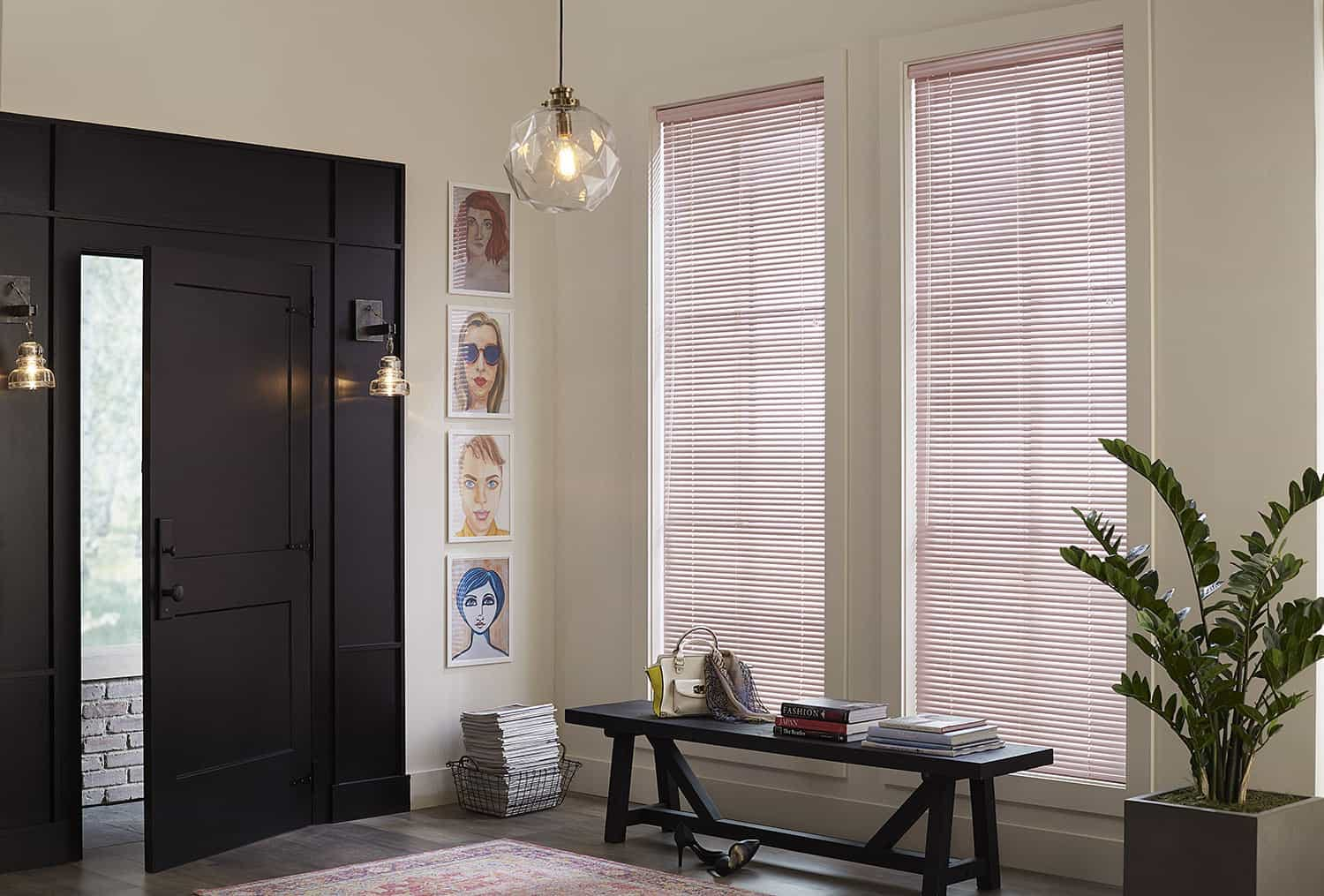 Modern entry-way with dark wood furniture and pink aluminum mini blinds.