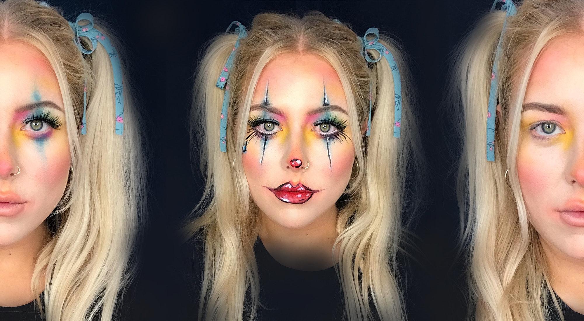 Cute Clown Halloween Makeup Tutorial