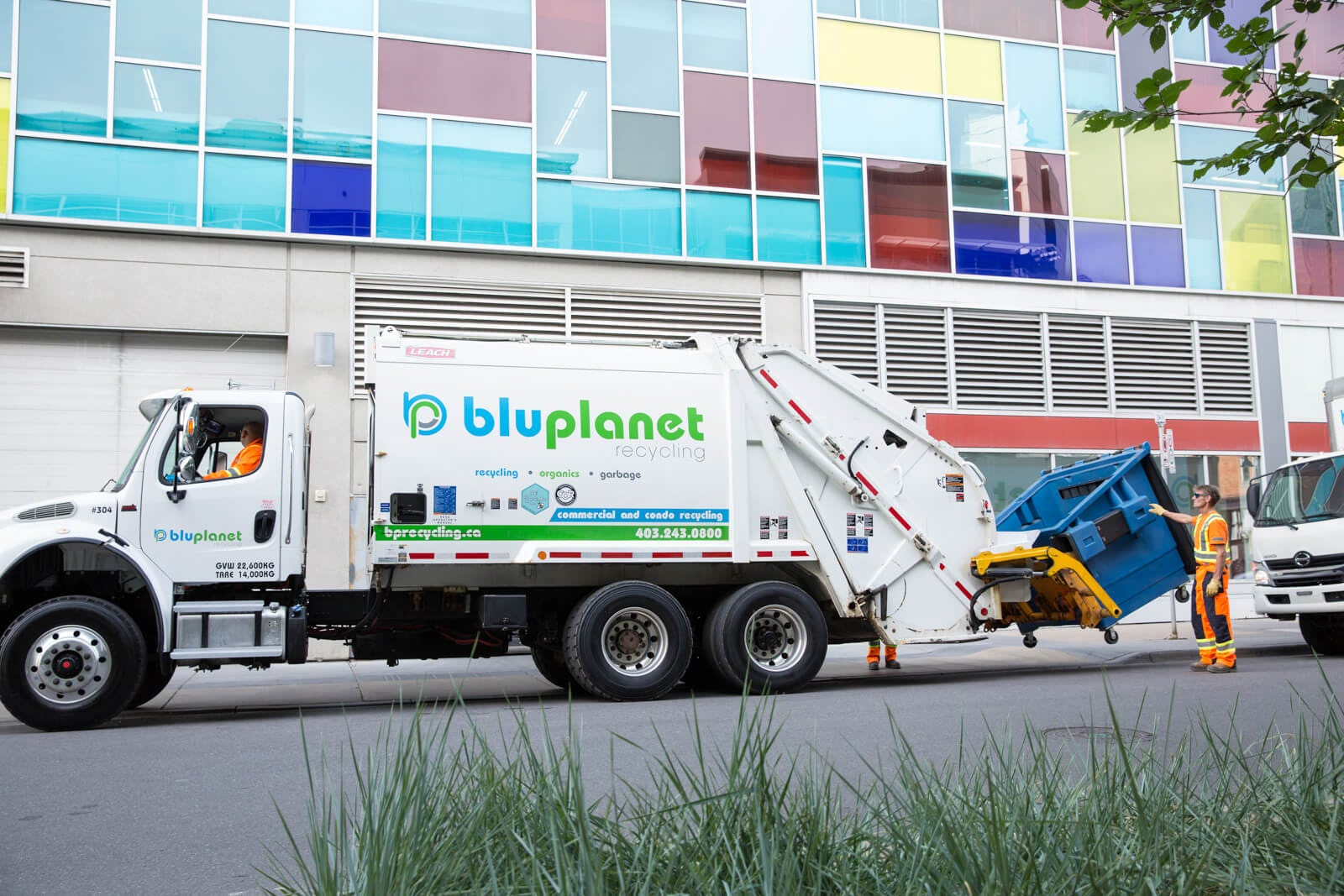 BluPlanet Recycling collecting mixed recycling at a downtown Calgary condo