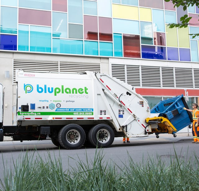 BluPlanet Mixed Recycling Collection Truck Downtown Calgary