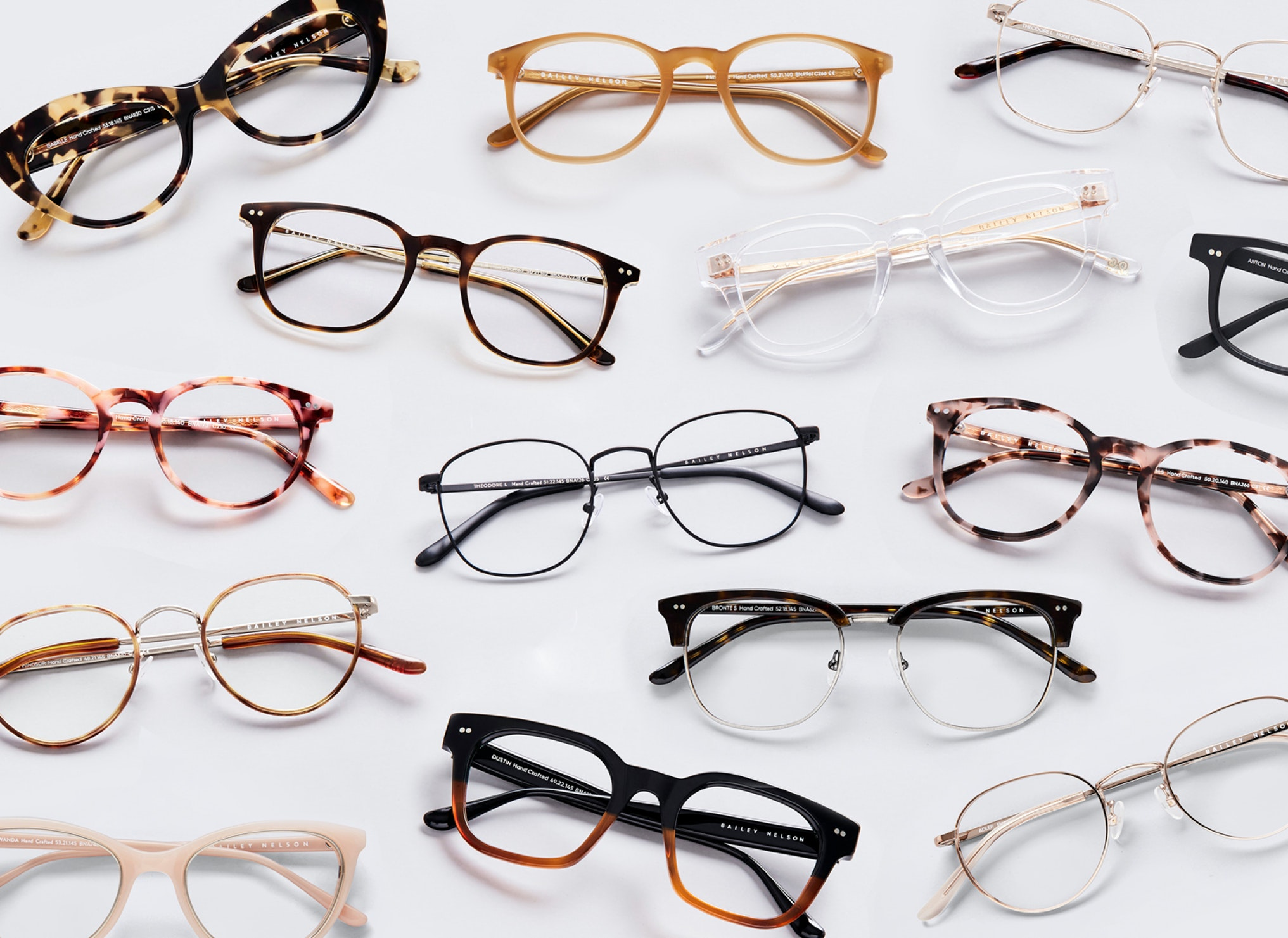 optical glasses in different colours and shapes