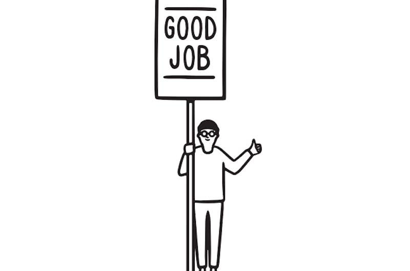 cartoon person holding good job sign