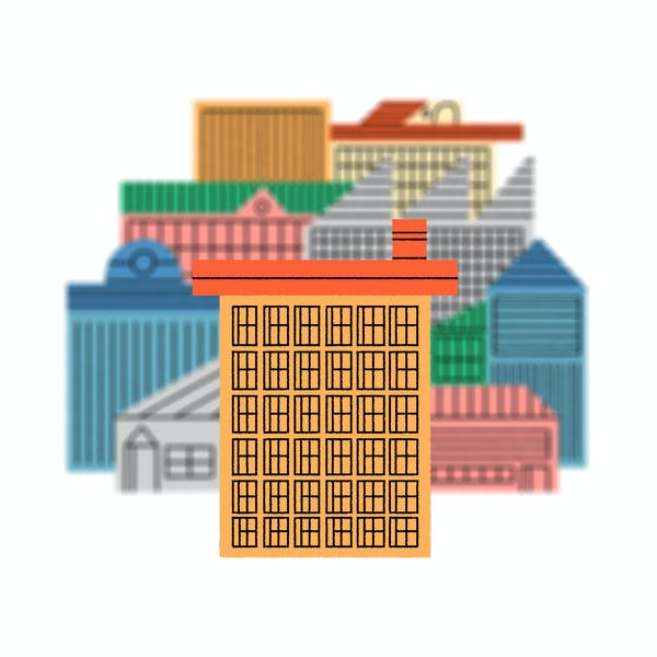 illustration of buildings to show myopia