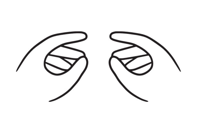 drawn image of hands