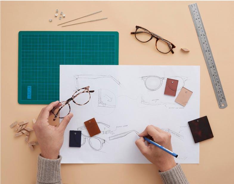 sketching of glasses frames