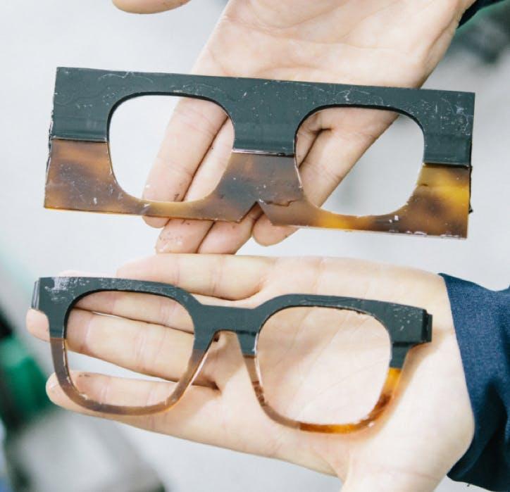 acetate glasses cut out of acetate block