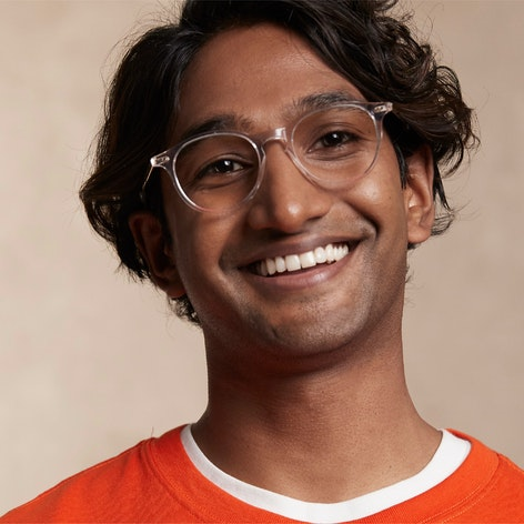 man wearing Markova small glasses