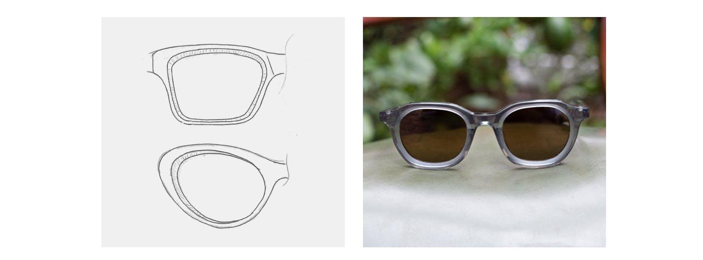 sketch of deco frames and photo of deco sunglasses
