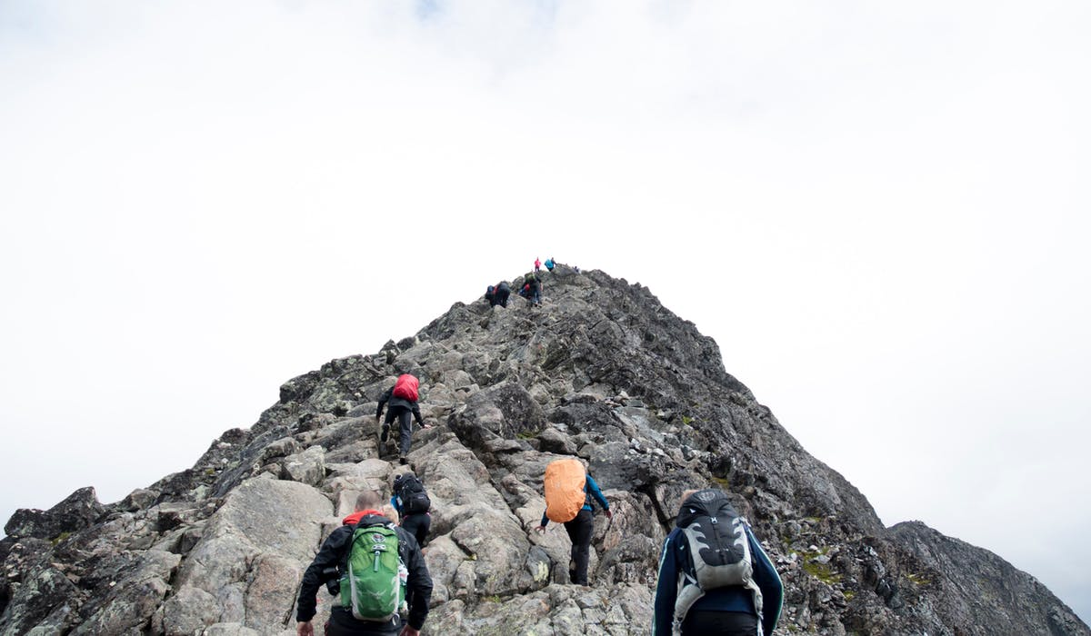 hikers following a leader