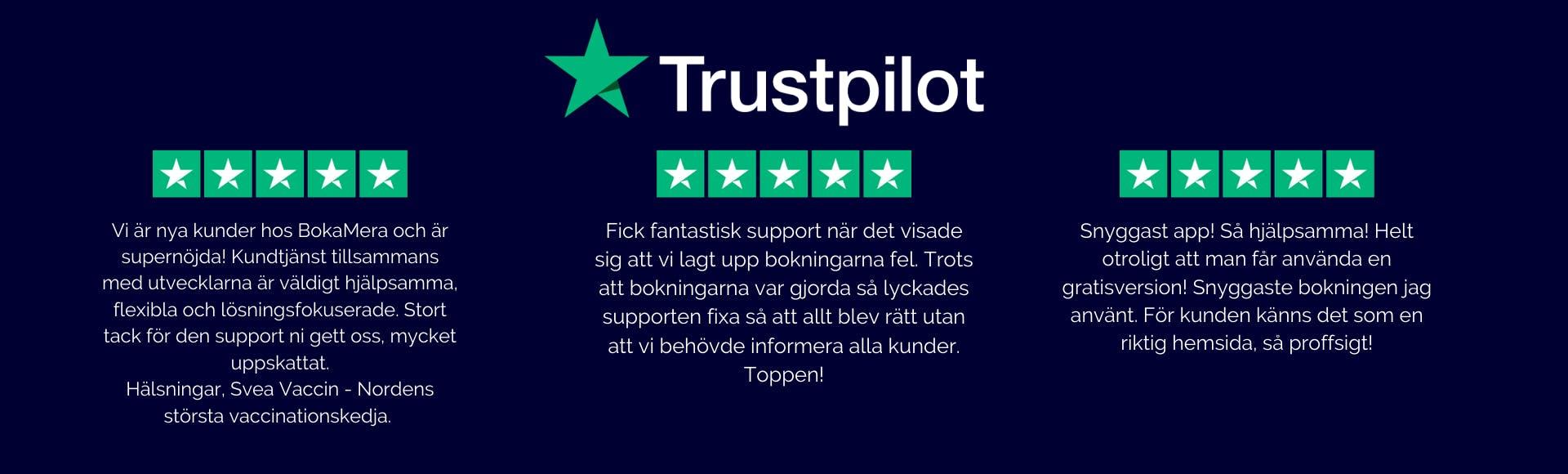 Trustpilot BokaMera bokningstjänster