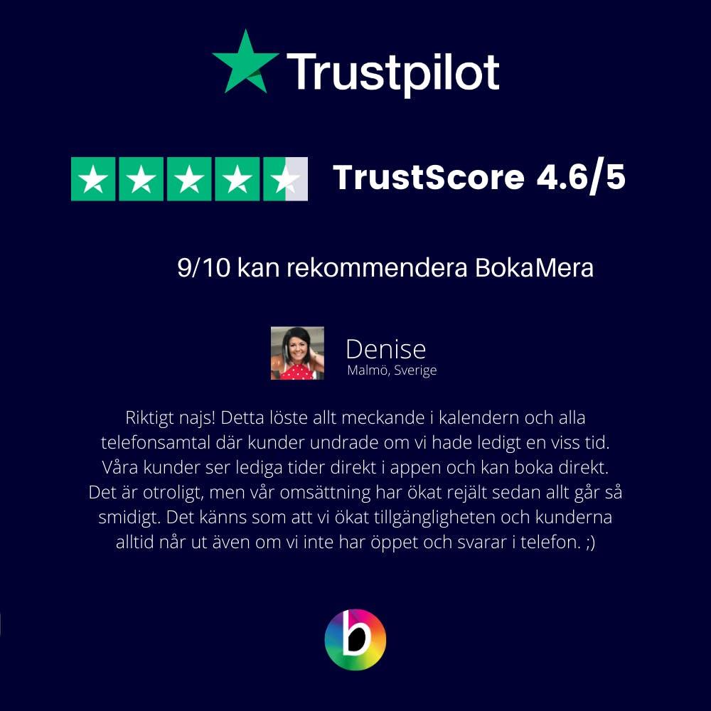 Trustpilot BokaMera rating
