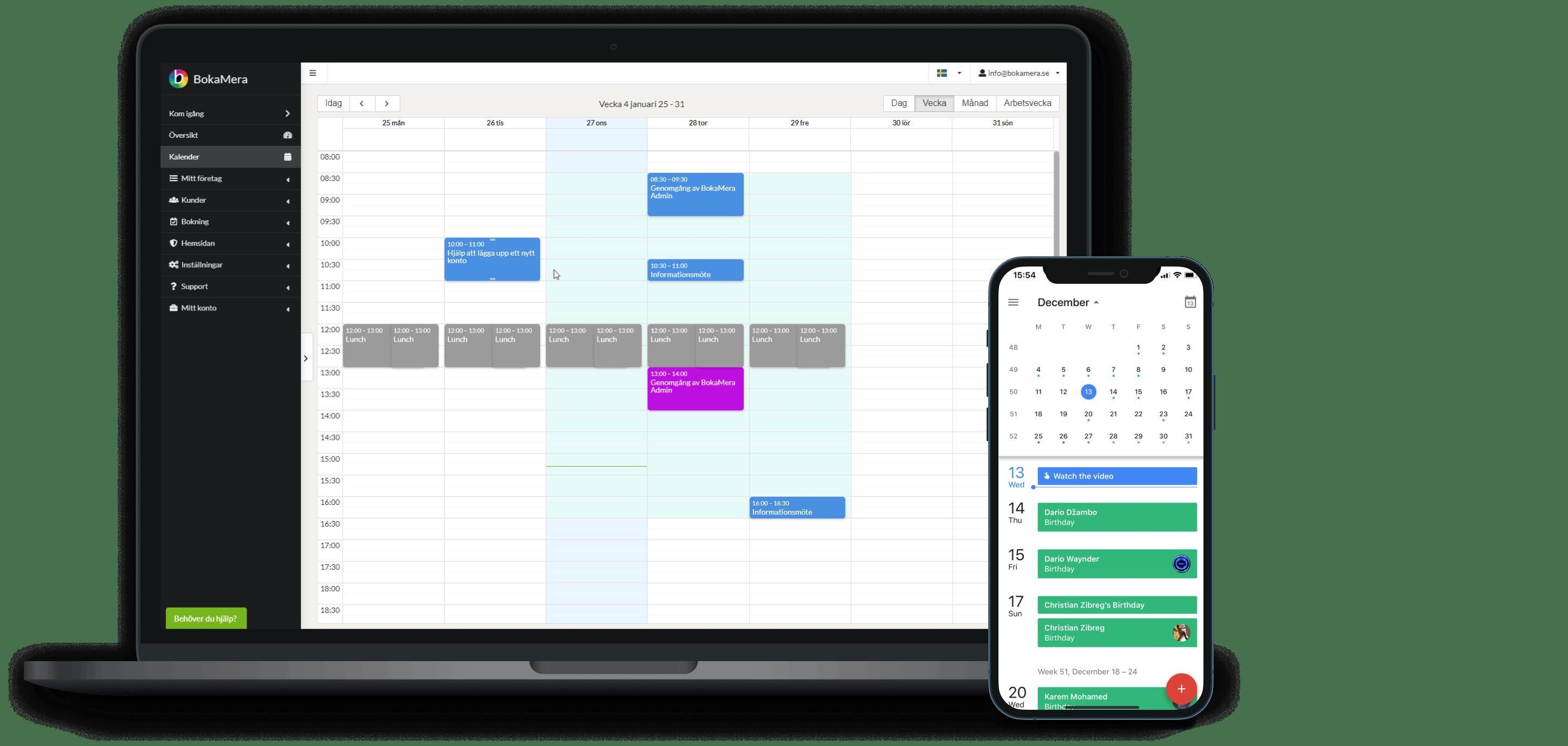 Synkronisera din vanliga kalender med BokaMeras bokningskalender