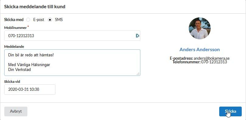 Skicka meddelande direkt till kunder via e-post/sms