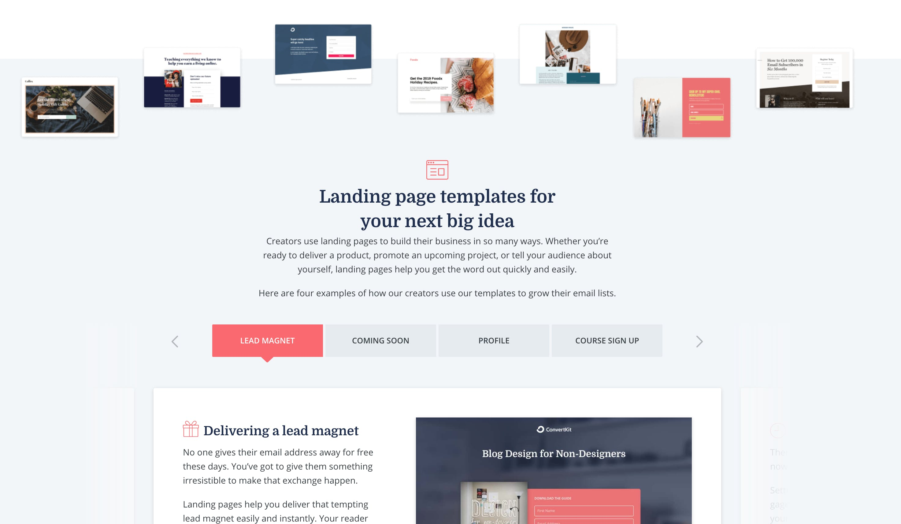 ConvertKit's landing page builder and templates