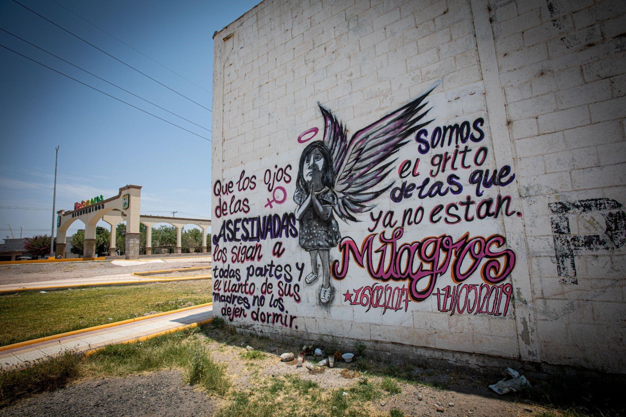 Un mural en honor a la niña Milagros en Matamoros, Coahuila.