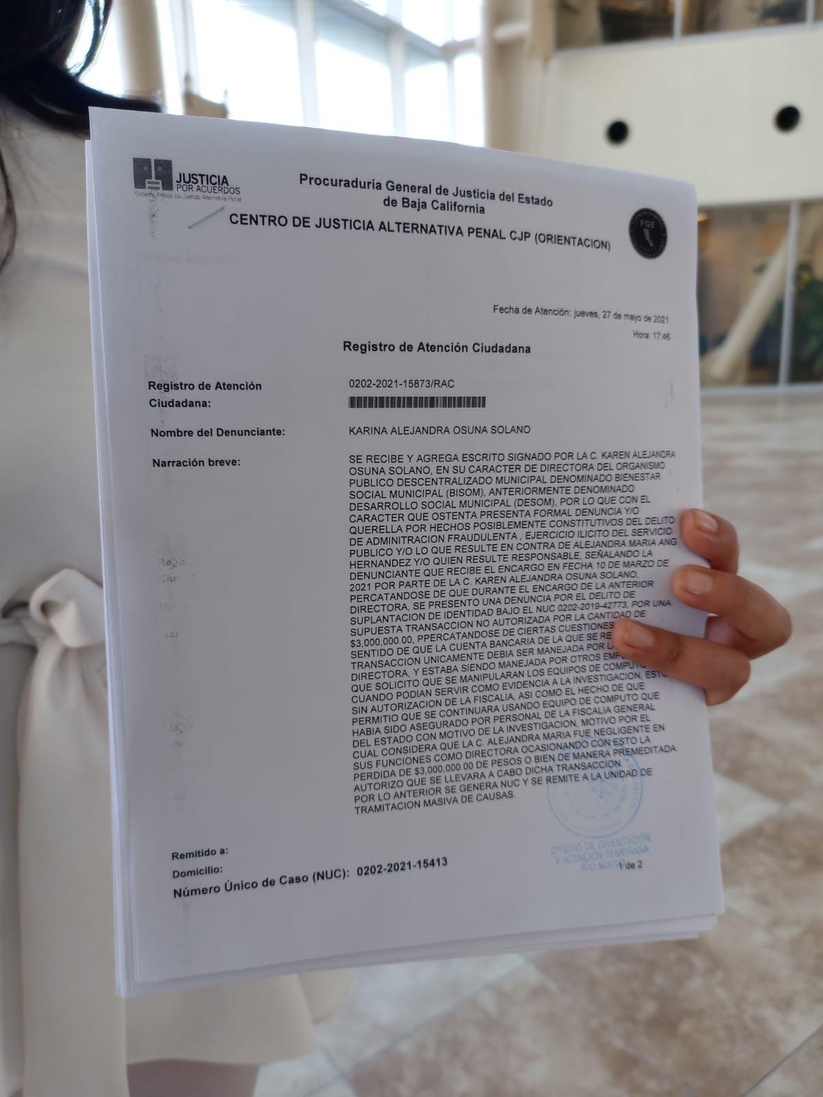 Denuncia contra alejandra ANg en Mexicali