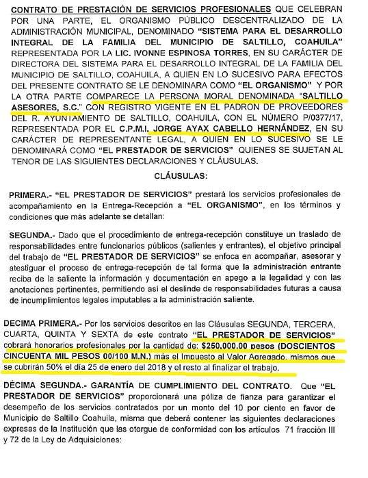 Contrato de 250 mil pesos con Jorge Ayax Cabello.
