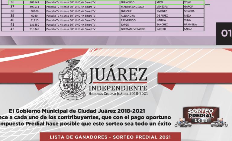 Ganadores del sorteo predial en Ciudad Juárez.