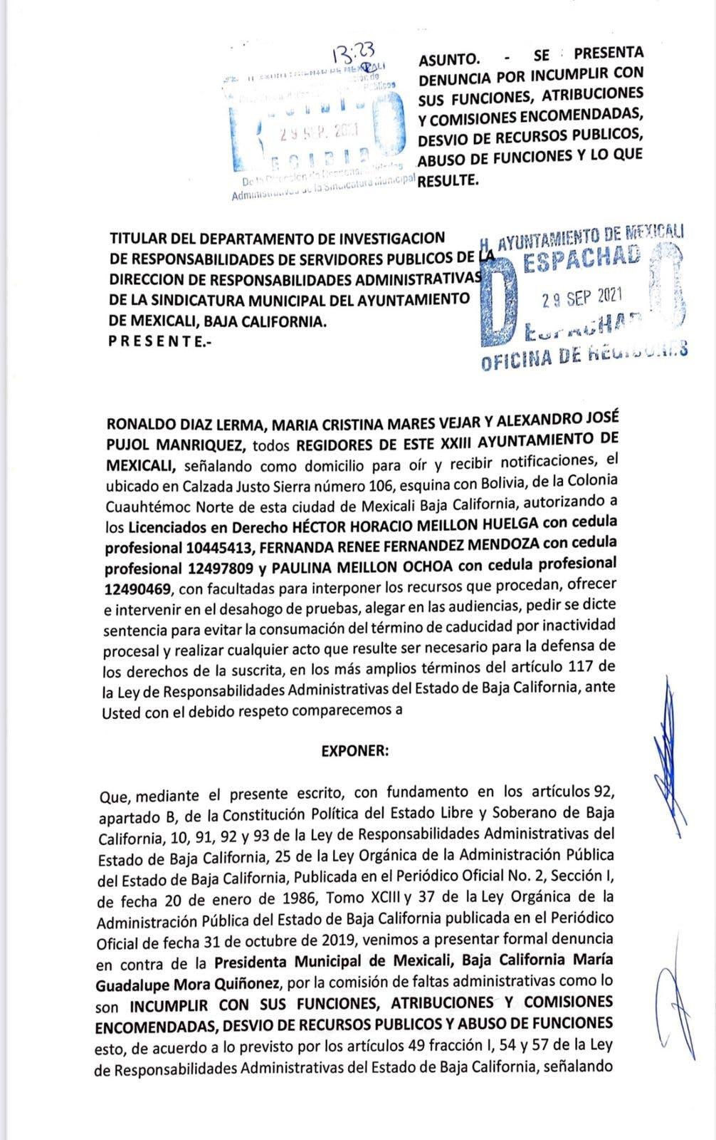 Denuncia contra Lupita Mora Quiñonez.
