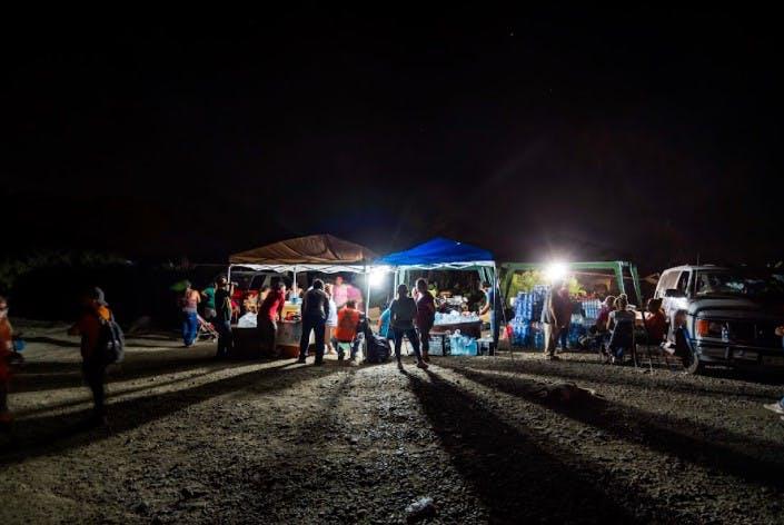 Campamento fuera de la Mina Micarán.