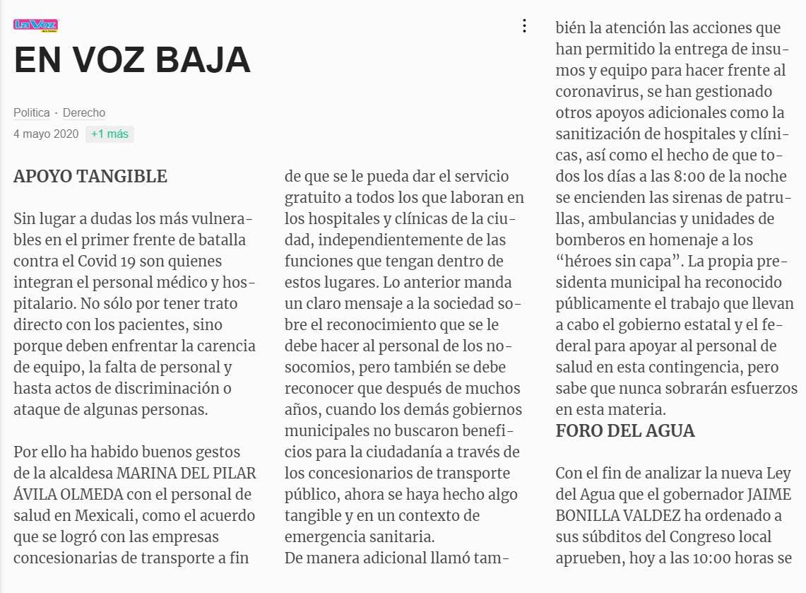 Columna de Hugo Ruvalcaba en apoyo a Marina del Pilar Ávila
