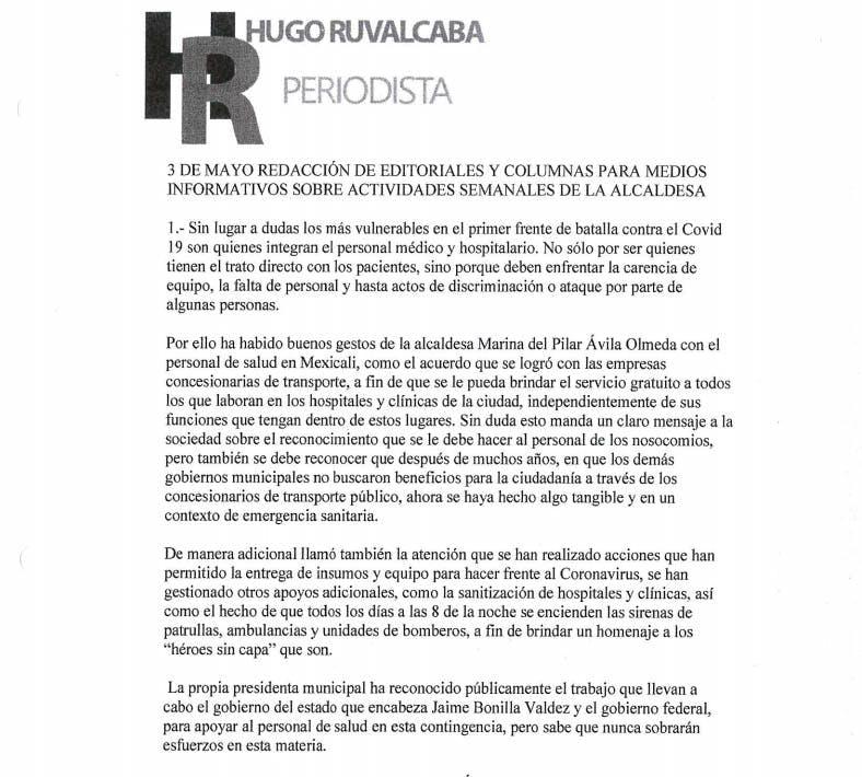 Documento de transparencia del periodista Hugo Ruvalcaba