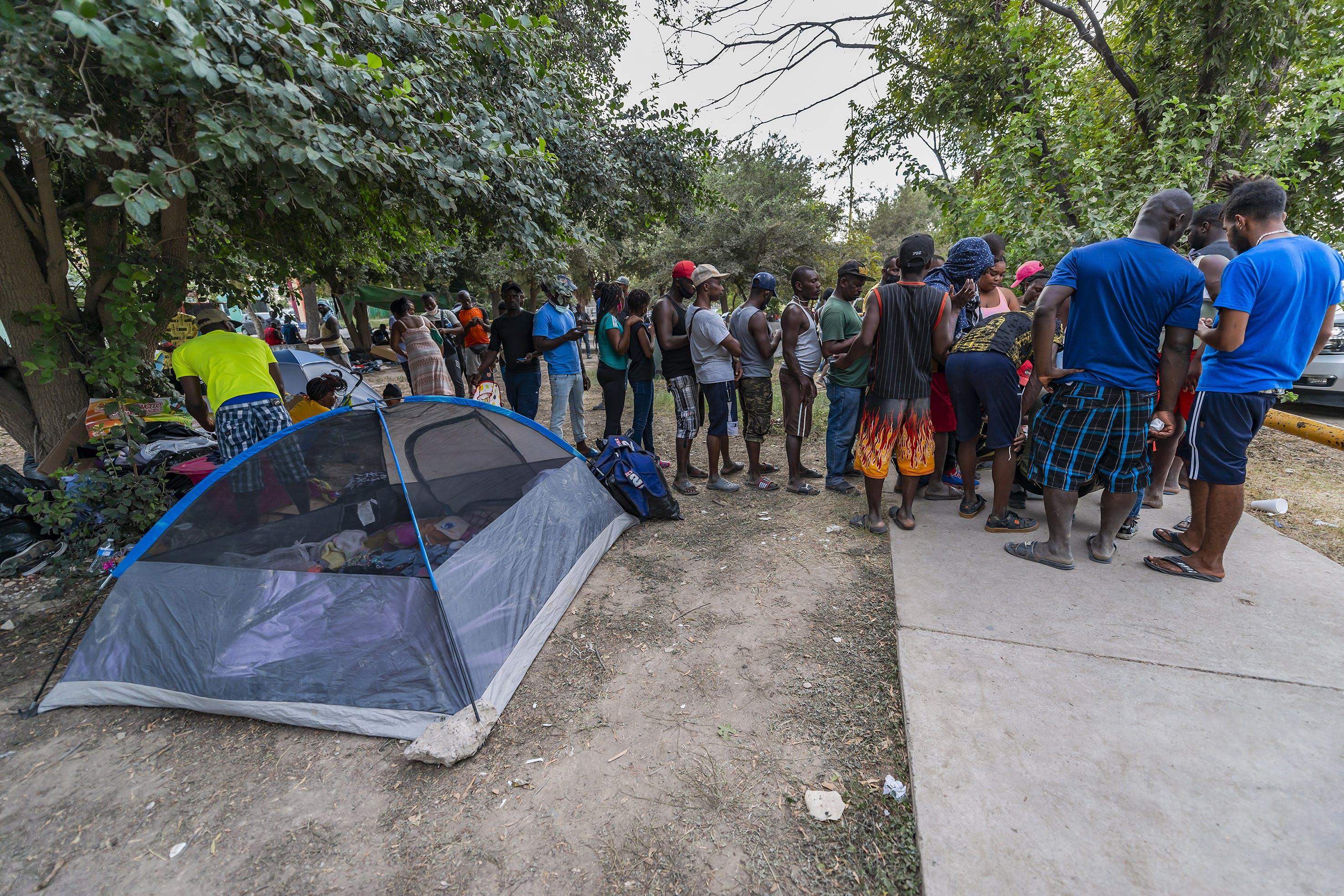 Campamento de haitianos.