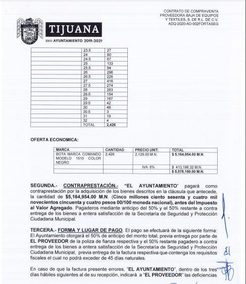 Contratos botas tijuana.