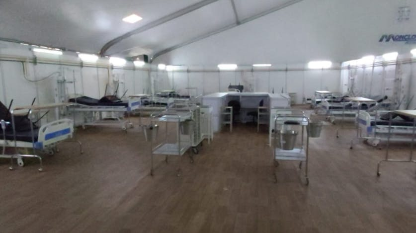 Hospital móvil en Moclova.