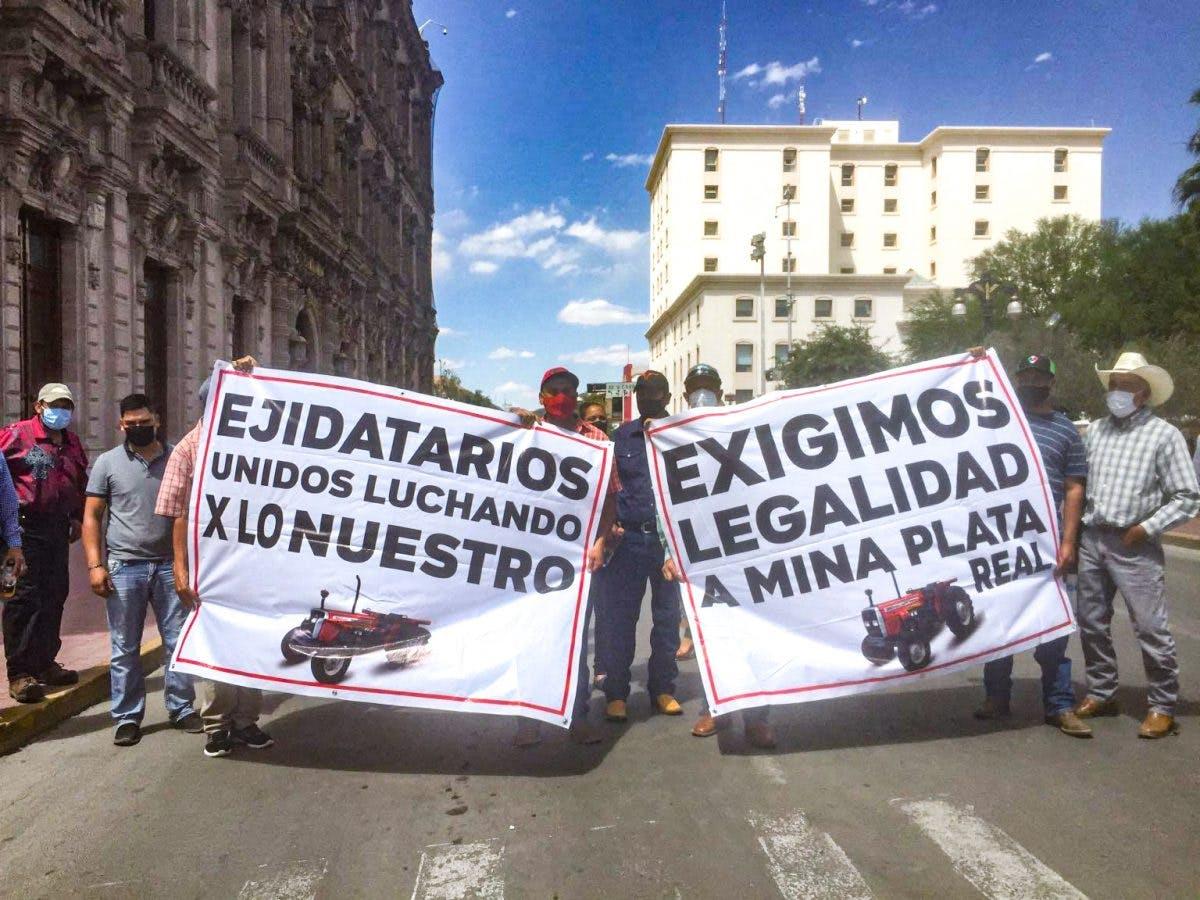 ejidatarios en contra de Mina en Valle de Zaragoza.