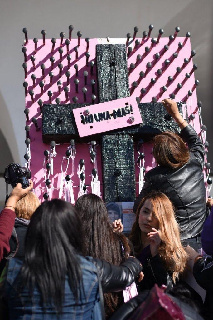 Protesta por la violencia contra la mujer en Juárez.